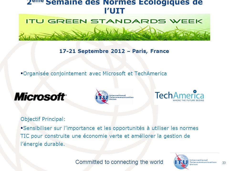 Committed to connecting the world 2 ème Semaine des Normes Ecologiques de lUIT 17-21 Septembre 2012 – Paris, France Organisée conjointement avec Micro