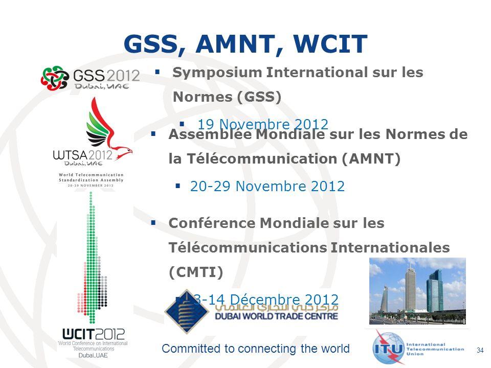 Committed to connecting the world GSS, AMNT, WCIT Assemblée Mondiale sur les Normes de la Télécommunication (AMNT) 20-29 Novembre 2012 34 Conférence M