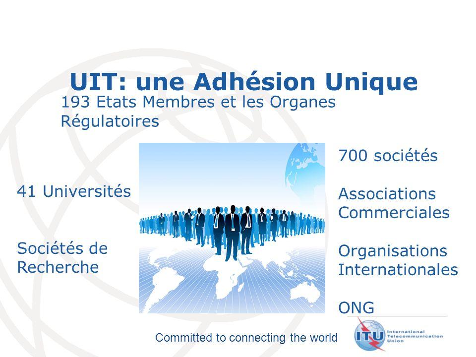 International Telecommunication Union Committed to connecting the world UIT: une Adhésion Unique 193 Etats Membres et les Organes Régulatoires 700 soc
