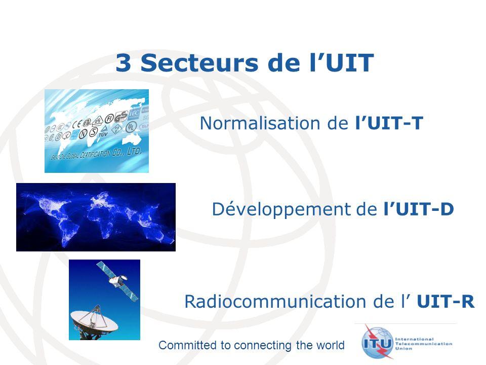 International Telecommunication Union Committed to connecting the world 3 Secteurs de lUIT Normalisation de lUIT-T Développement de lUIT-D Radiocommun