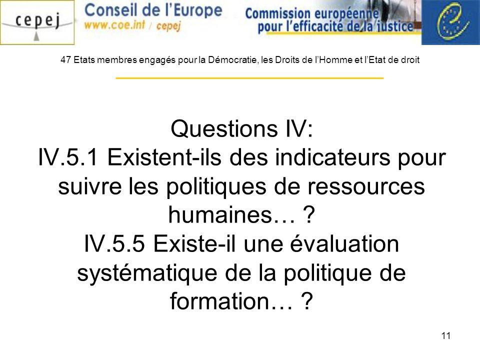 11 Questions IV: IV.5.1 Existent-ils des indicateurs pour suivre les politiques de ressources humaines… ? IV.5.5 Existe-il une évaluation systématique