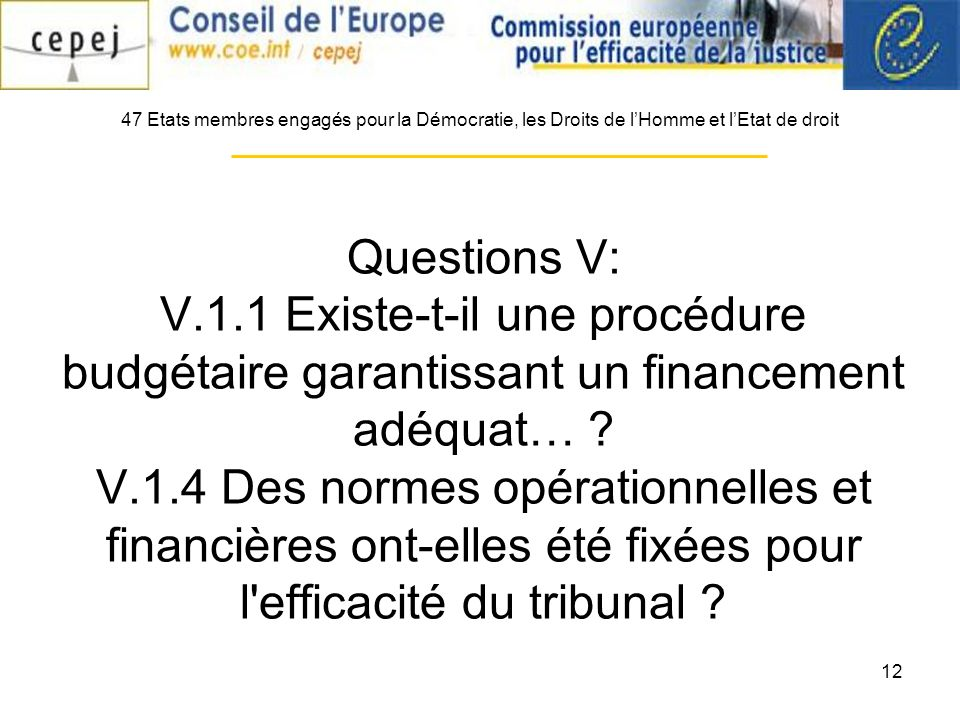 12 Questions V: V.1.1 Existe-t-il une procédure budgétaire garantissant un financement adéquat… ? V.1.4 Des normes opérationnelles et financières ont-