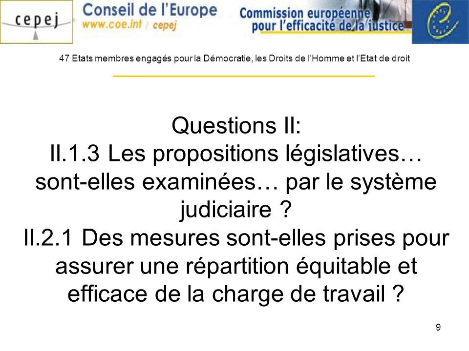 9 Questions II: II.1.3 Les propositions législatives… sont-elles examinées… par le système judiciaire ? II.2.1 Des mesures sont-elles prises pour assu