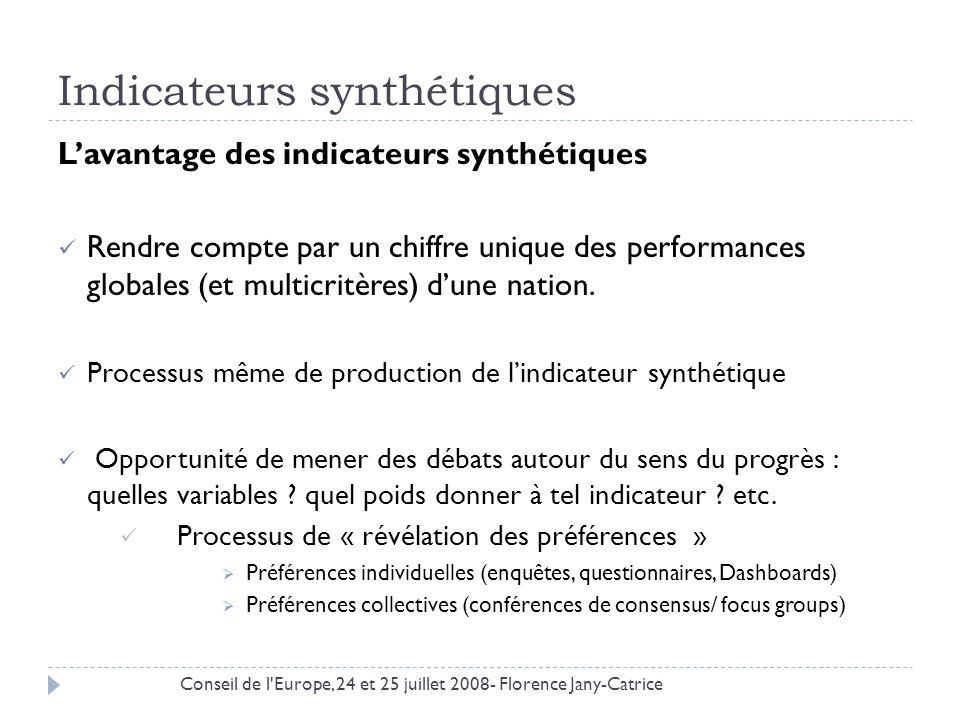Indicateurs synthétiques Lavantage des indicateurs synthétiques Rendre compte par un chiffre unique des performances globales (et multicritères) dune