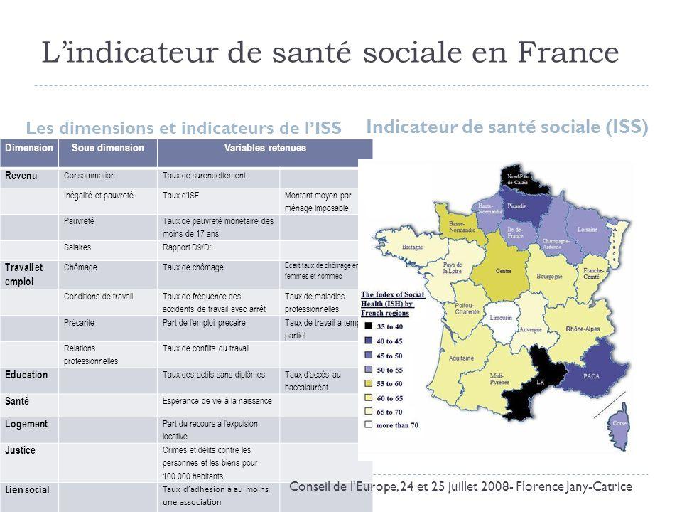 Lindicateur de santé sociale en France Les dimensions et indicateurs de lISS Indicateur de santé sociale (ISS) DimensionSous dimensionVariables retenu