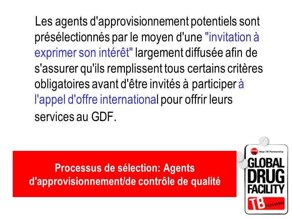 Processus de sélection: Agents d'approvisionnement/de contrôle de qualité Les agents d'approvisionnement potentiels sont présélectionnés par le moyen