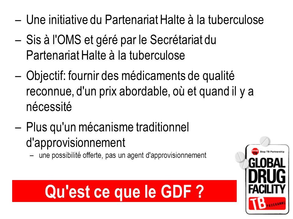 Qu'est ce que le GDF ? –Une initiative du Partenariat Halte à la tuberculose –Sis à l'OMS et géré par le Secrétariat du Partenariat Halte à la tubercu