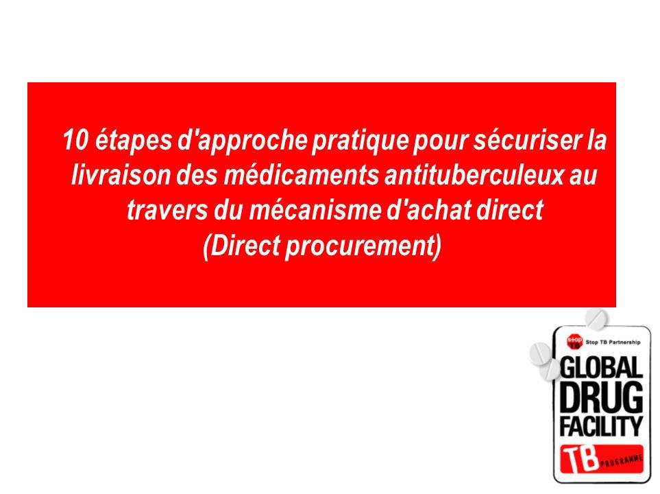 10 étapes d'approche pratique pour sécuriser la livraison des médicaments antituberculeux au travers du mécanisme d'achat direct (Direct procurement)