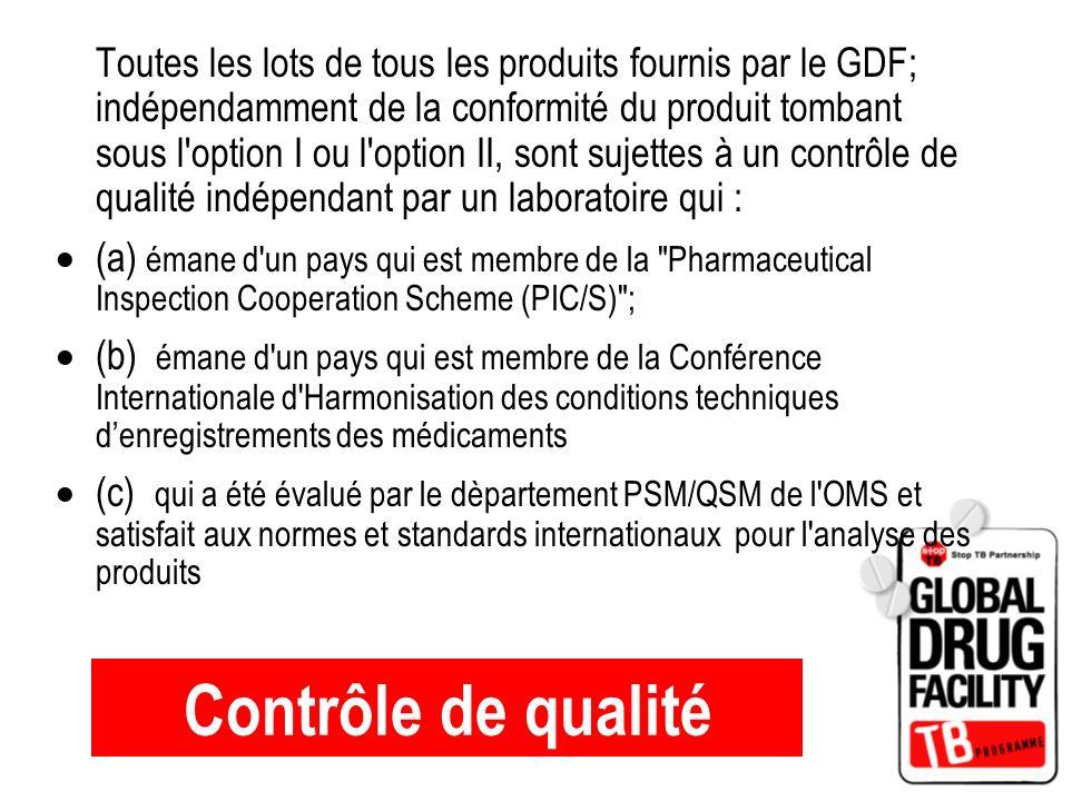 Contrôle de qualité Toutes les lots de tous les produits fournis par le GDF; indépendamment de la conformité du produit tombant sous l'option I ou l'o