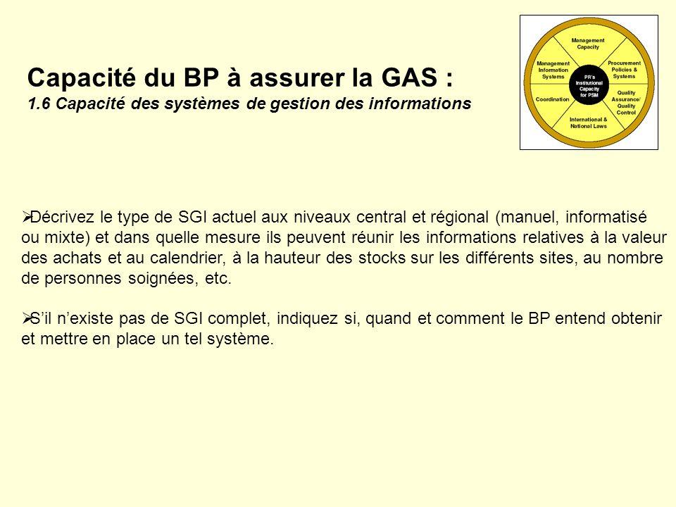 Capacité du BP à assurer la GAS : 1.6 Capacité des systèmes de gestion des informations Décrivez le type de SGI actuel aux niveaux central et régional