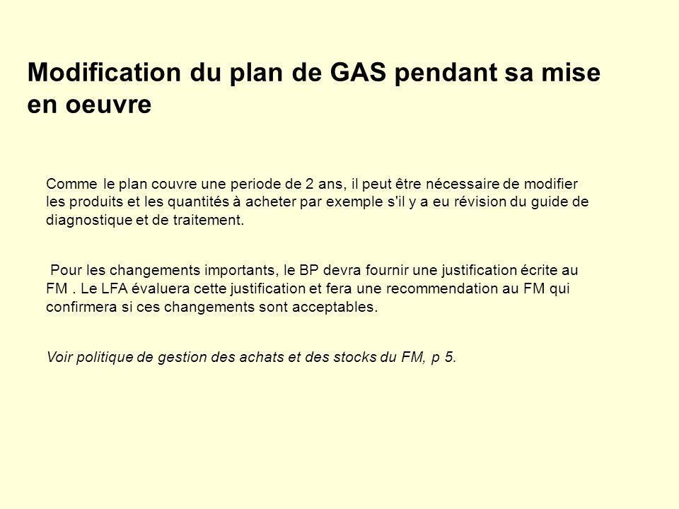 Modification du plan de GAS pendant sa mise en oeuvre Comme le plan couvre une periode de 2 ans, il peut être nécessaire de modifier les produits et l