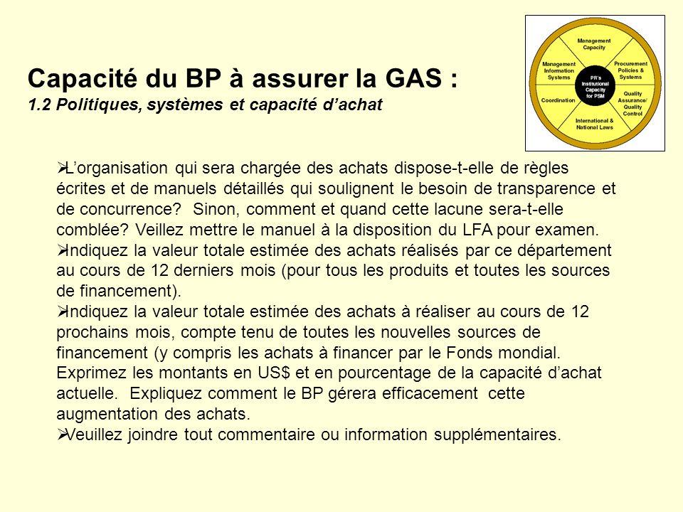 Capacité du BP à assurer la GAS : 1.3 Systèmes dassurance de la qualité et capacité Il appartient au BP de garantir que les produits achetés à laide dun financement du Fonds mondial respectent les critères ANRM en termes denregistrement, BPF, etc.