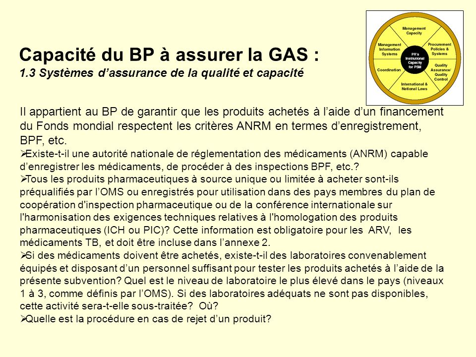 Capacité du BP à assurer la GAS : 1.3 Systèmes dassurance de la qualité et capacité Il appartient au BP de garantir que les produits achetés à laide d