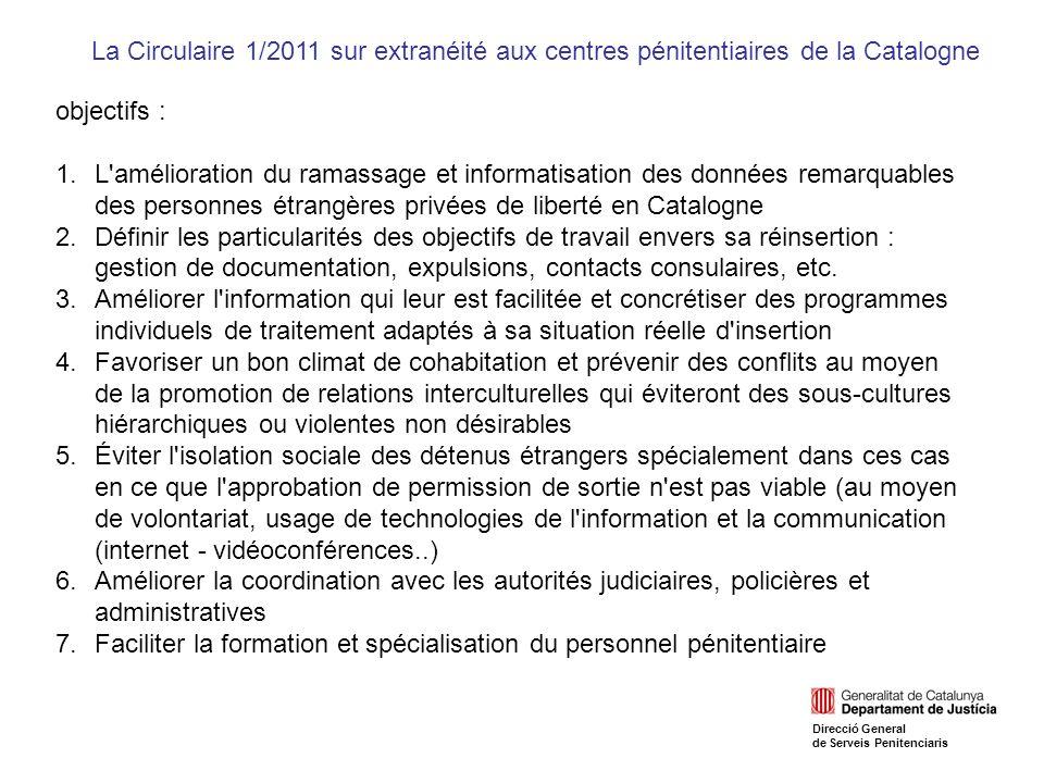 objectifs : 1.L amélioration du ramassage et informatisation des données remarquables des personnes étrangères privées de liberté en Catalogne 2.Définir les particularités des objectifs de travail envers sa réinsertion : gestion de documentation, expulsions, contacts consulaires, etc.