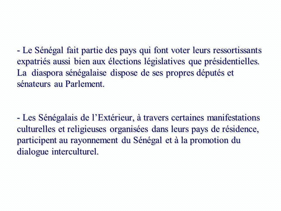 - Le Sénégal fait partie des pays qui font voter leurs ressortissants expatriés aussi bien aux élections législatives que présidentielles. La diaspora