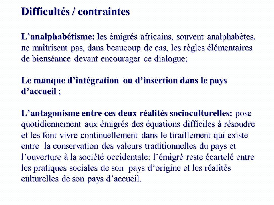 Difficultés / contraintes Lanalphabétisme: les émigrés africains, souvent analphabètes, ne maîtrisent pas, dans beaucoup de cas, les règles élémentair