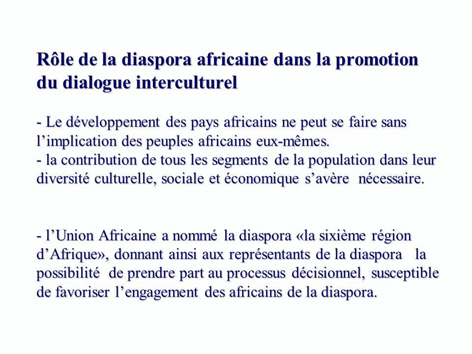 Rôle de la diaspora africaine dans la promotion du dialogue interculturel - Le développement des pays africains ne peut se faire sans limplication des