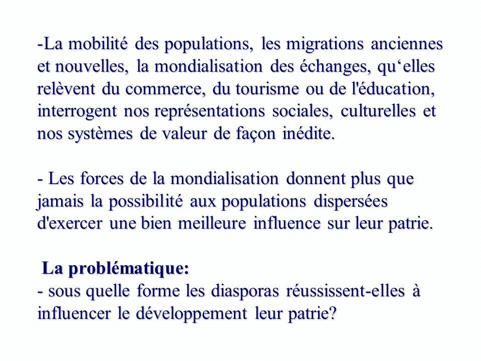 -La mobilité des populations, les migrations anciennes et nouvelles, la mondialisation des échanges, quelles relèvent du commerce, du tourisme ou de l