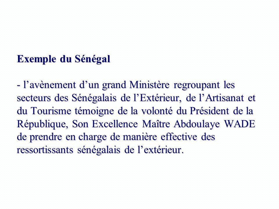 Exemple du Sénégal - lavènement dun grand Ministère regroupant les secteurs des Sénégalais de lExtérieur, de lArtisanat et du Tourisme témoigne de la