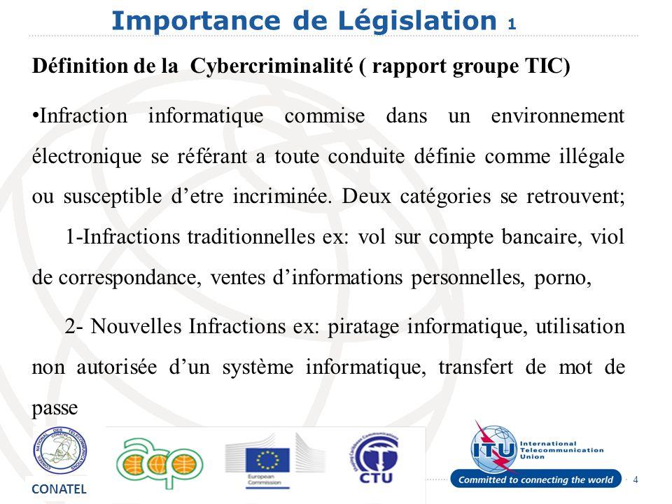 4 Importance de Législation 1 Définition de la Cybercriminalité ( rapport groupe TIC) Infraction informatique commise dans un environnement électronique se référant a toute conduite définie comme illégale ou susceptible detre incriminée.