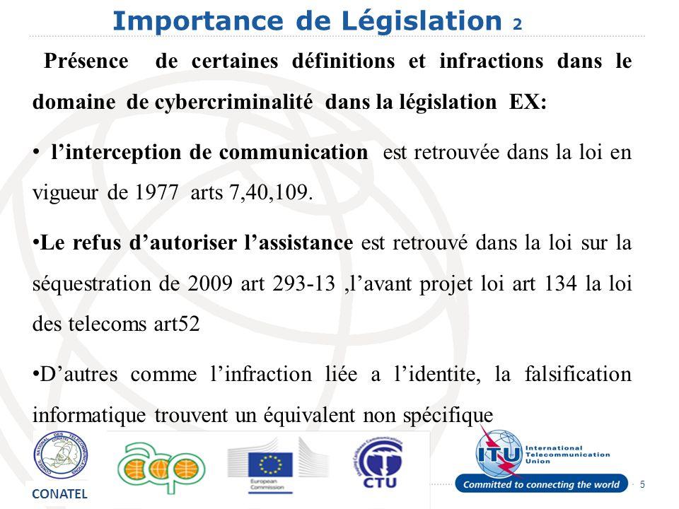 5 Importance de Législation 2 Présence de certaines définitions et infractions dans le domaine de cybercriminalité dans la législation EX: linterception de communication est retrouvée dans la loi en vigueur de 1977 arts 7,40,109.
