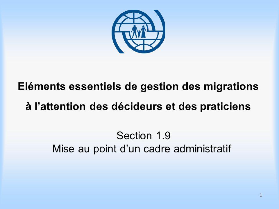 1 Eléments essentiels de gestion des migrations à lattention des décideurs et des praticiens Section 1.9 Mise au point dun cadre administratif