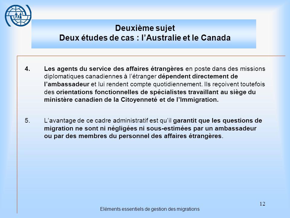 12 Eléments essentiels de gestion des migrations Deuxième sujet Deux études de cas : lAustralie et le Canada 4.Les agents du service des affaires étra