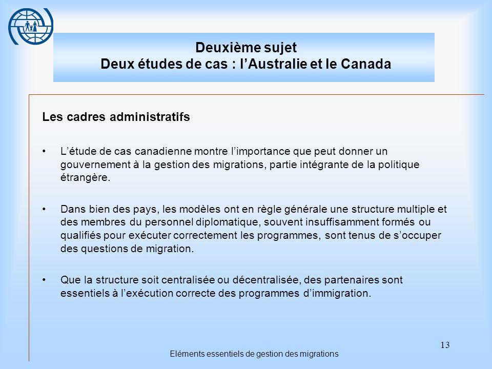 13 Eléments essentiels de gestion des migrations Deuxième sujet Deux études de cas : lAustralie et le Canada Les cadres administratifs Létude de cas c