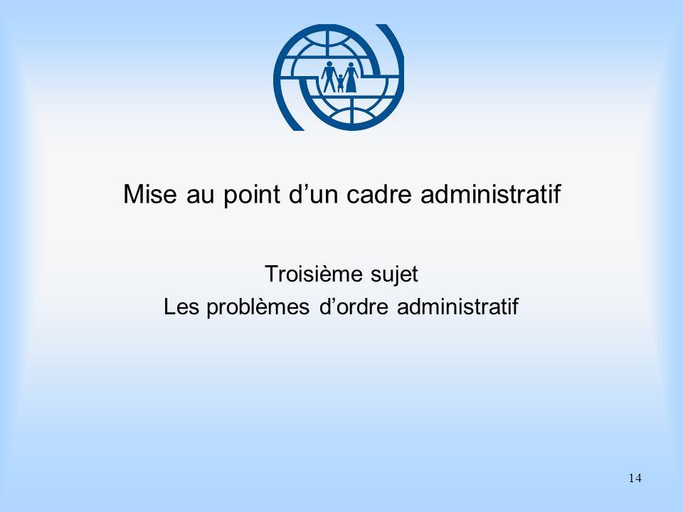 14 Mise au point dun cadre administratif Troisième sujet Les problèmes dordre administratif