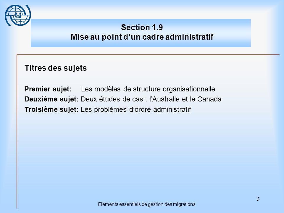 3 Eléments essentiels de gestion des migrations Section 1.9 Mise au point dun cadre administratif Titres des sujets Premier sujet: Les modèles de stru