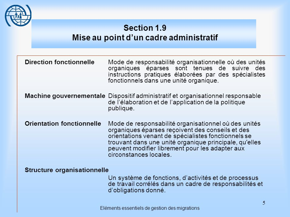 5 Eléments essentiels de gestion des migrations Section 1.9 Mise au point dun cadre administratif Direction fonctionnelleMode de responsabilité organi