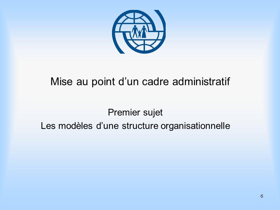 6 Mise au point dun cadre administratif Premier sujet Les modèles dune structure organisationnelle