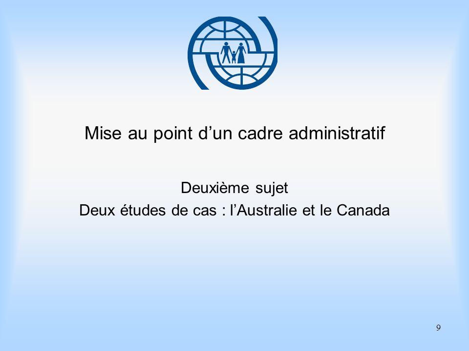 9 Mise au point dun cadre administratif Deuxième sujet Deux études de cas : lAustralie et le Canada