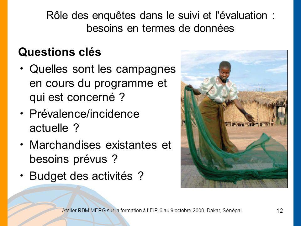 Atelier RBM-MERG sur la formation à lEIP, 6 au 9 octobre 2008, Dakar, Sénégal 12 Rôle des enquêtes dans le suivi et l évaluation : besoins en termes de données Questions clés Quelles sont les campagnes en cours du programme et qui est concerné .