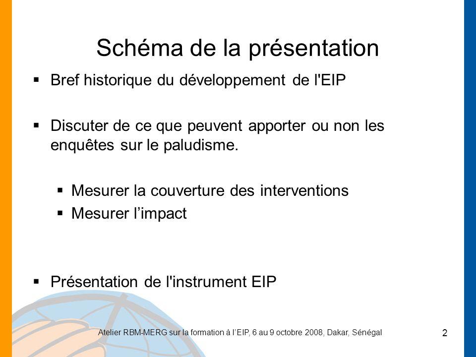 Atelier RBM-MERG sur la formation à lEIP, 6 au 9 octobre 2008, Dakar, Sénégal 2 Schéma de la présentation Bref historique du développement de l EIP Discuter de ce que peuvent apporter ou non les enquêtes sur le paludisme.