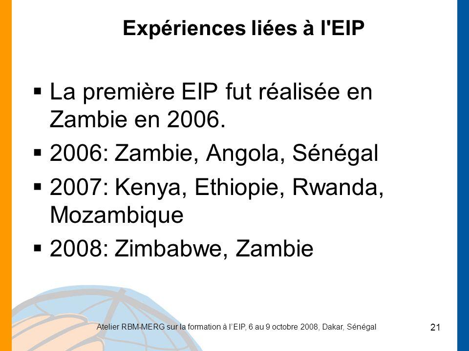 Atelier RBM-MERG sur la formation à lEIP, 6 au 9 octobre 2008, Dakar, Sénégal 21 Expériences liées à l EIP La première EIP fut réalisée en Zambie en 2006.