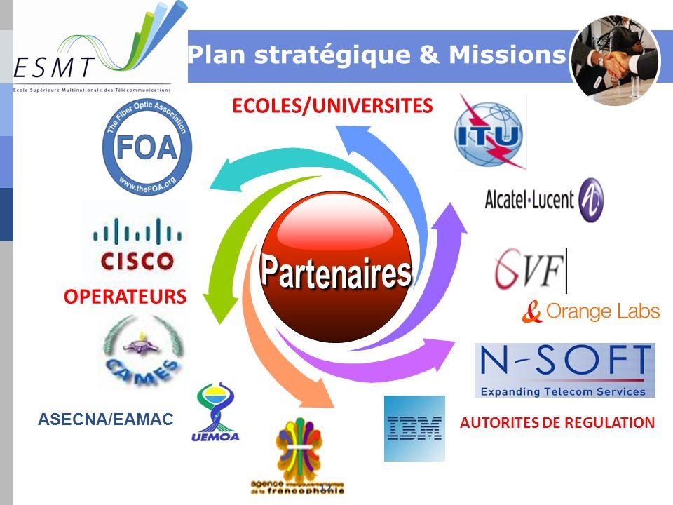 ECOLES/UNIVERSITES AUTORITES DE REGULATION OPERATEURS Plan stratégique & Missions ASECNA/EAMAC 12