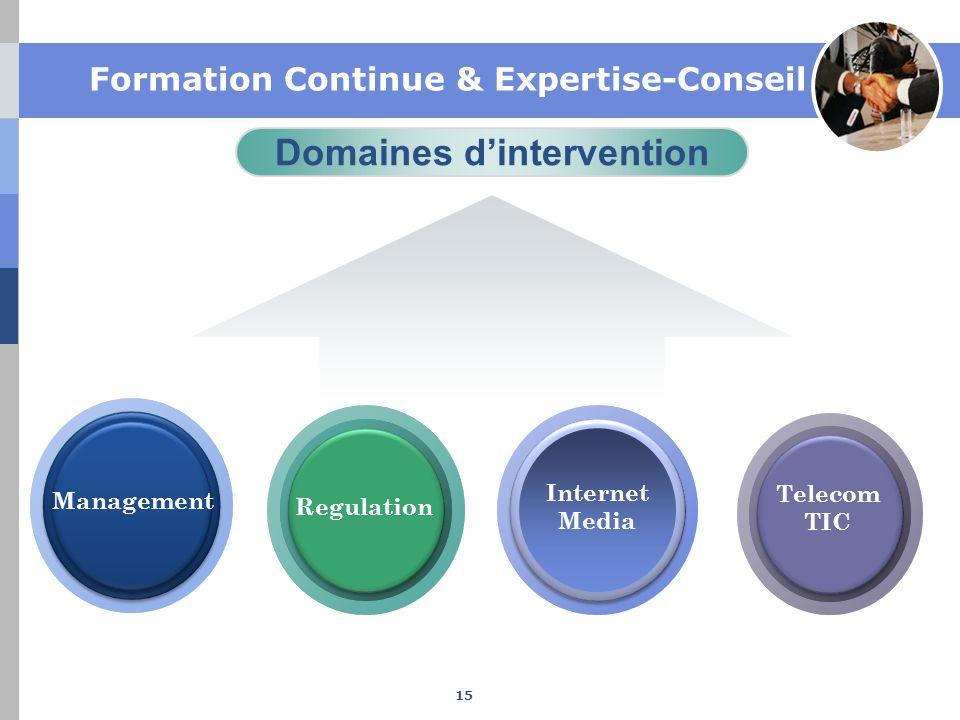 Domaines dintervention Management Internet Media Regulation Telecom TIC Formation Continue & Expertise-Conseil 15