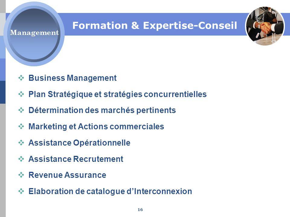 Formation & Expertise-Conseil Business Management Plan Stratégique et stratégies concurrentielles Détermination des marchés pertinents Marketing et Ac