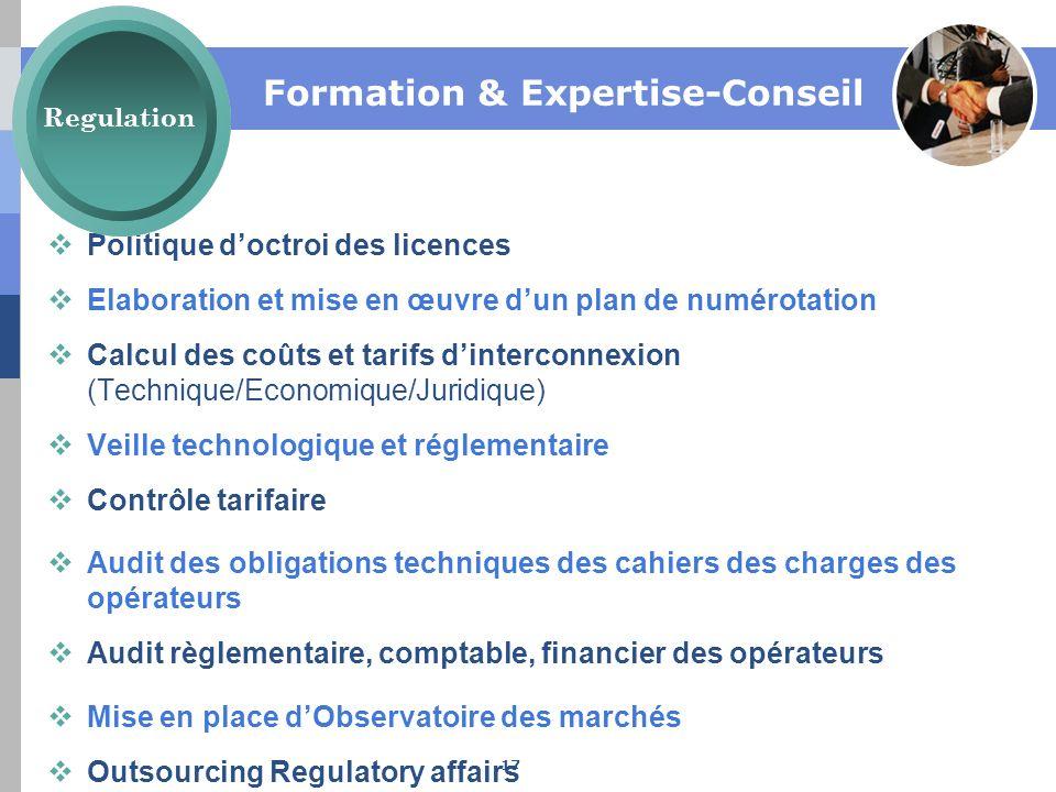 Formation & Expertise-Conseil Politique doctroi des licences Elaboration et mise en œuvre dun plan de numérotation Calcul des coûts et tarifs dinterco