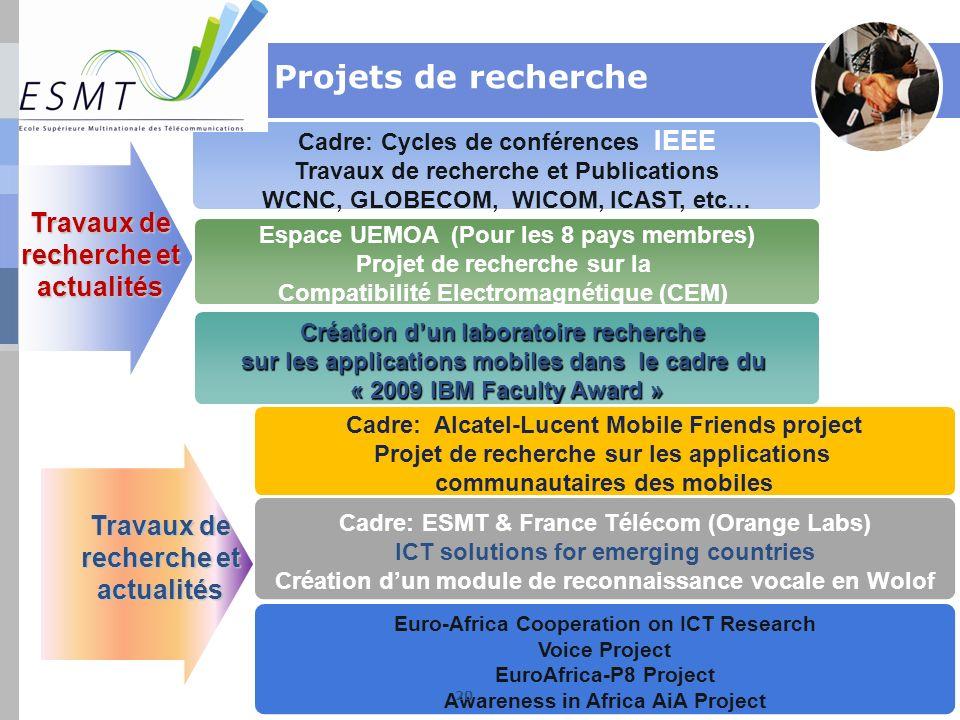 Cadre: Cycles de conférences IEEE Travaux de recherche et Publications WCNC, GLOBECOM, WICOM, ICAST, etc… Espace UEMOA (Pour les 8 pays membres) Proje