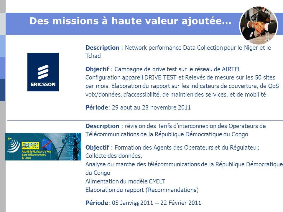 Des missions à haute valeur ajoutée… Description : Network performance Data Collection pour le Niger et le Tchad Objectif : Campagne de drive test sur