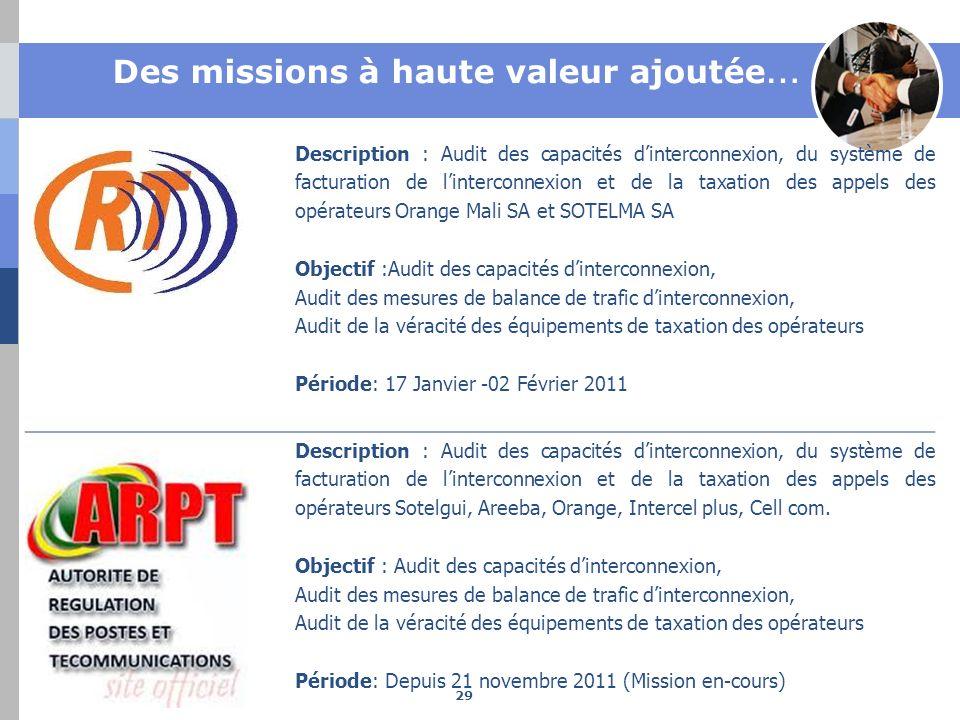 Des missions à haute valeur ajoutée … Description : Audit des capacités dinterconnexion, du système de facturation de linterconnexion et de la taxatio