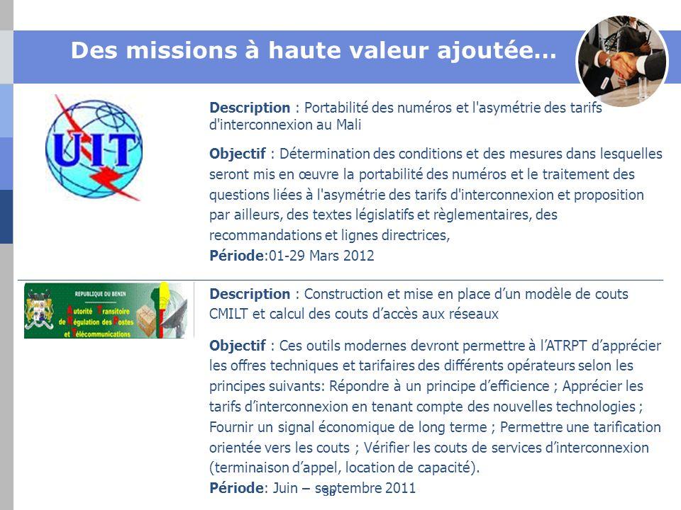 Description : Portabilité des numéros et l'asymétrie des tarifs d'interconnexion au Mali Objectif : Détermination des conditions et des mesures dans l