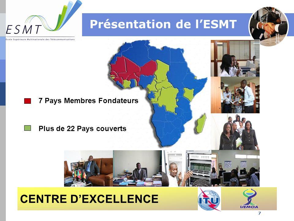 ESMT 1400 étudiants: Dakar (Sénégal), Cotonou (Benin), Lomé (Togo), Yaoundé (Cameroun), Conakry (Guinée), Libreville (Gabon), Ouagadougou (Burkina Faso), Niamey (Niger) 37 employés permanents dont 17 enseignants Un important vivier de vacataires et enseignants associés venant de lindustrie des Télécoms/TIC et des institutions de formation partenaires 8