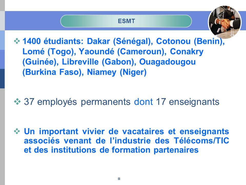ESMT 1400 étudiants: Dakar (Sénégal), Cotonou (Benin), Lomé (Togo), Yaoundé (Cameroun), Conakry (Guinée), Libreville (Gabon), Ouagadougou (Burkina Fas