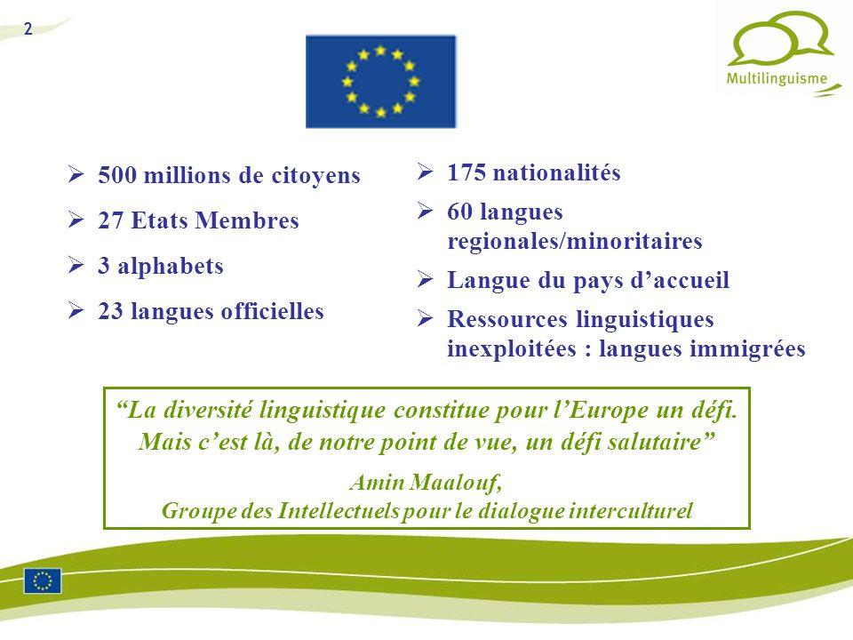 2 500 millions de citoyens 27 Etats Membres 3 alphabets 23 langues officielles La diversité linguistique constitue pour lEurope un défi. Mais cest là,