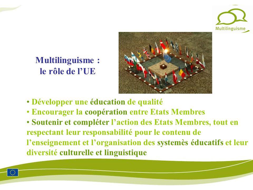 Développer une éducation de qualité Encourager la coopération entre Etats Membres Soutenir et compléter laction des Etats Membres, tout en respectant