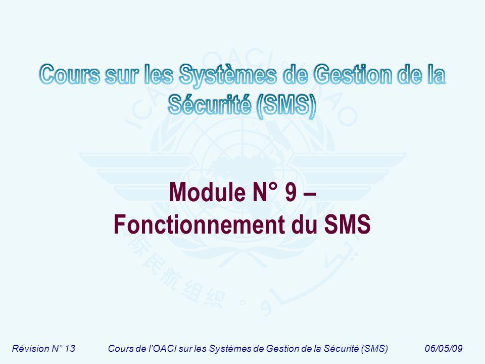 Révision N° 13Cours de lOACI sur les Systèmes de Gestion de la Sécurité (SMS)06/05/09 Module N° 9 – Fonctionnement du SMS