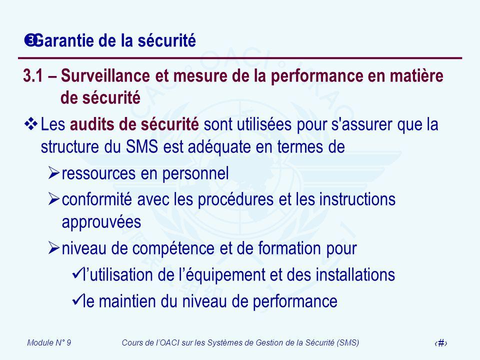 Module N° 9Cours de lOACI sur les Systèmes de Gestion de la Sécurité (SMS) 17 Garantie de la sécurité 3.1 – Surveillance et mesure de la performance e